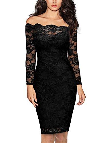 Miusol Womens Vintage Off Shoulder Flare Lace Slim Cocktail Pencil Dress,Small,Black