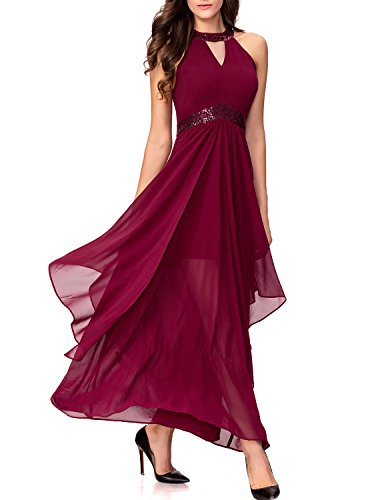 Noctflos Women's Vintage Sleeveless Empire V-Neck Long Cocktail Dress For Wedding Party