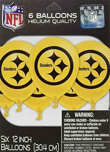 "Sports and Tailgating NFL Party Pittsburgh Steelers Latex Balloons Decoration, 12"", Pack of 6"