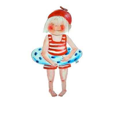 Famke, meisje met zwembandje en badpakje