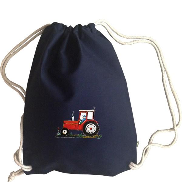 boerderij landbouw machine landbouwmachine donkerblauw blauw navy gymtas tractor rode trekker rood biokatoen canvas duurzaam stevig tas trekkoorden pjut illustratie