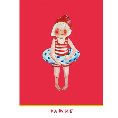 rose kinderkaart met een illustratie van een famke 10x15cm