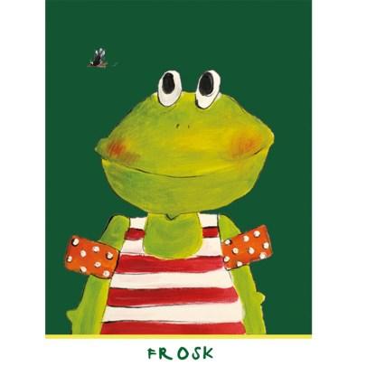 "kaart kikker, Frosk uit de serie, 5 Friese kinderkaarten ""Op de boerderij"""