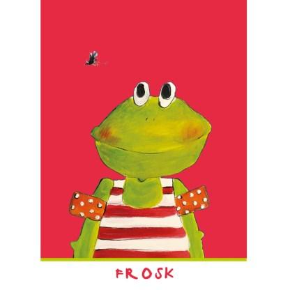 rose kinderkaart met een illustratie van een kikker 10x15cm