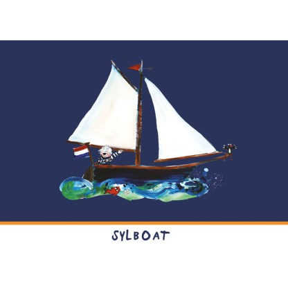 kaart met illustratie van zeilboot. Sylboat in het Fries