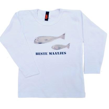 """Longsleeve met """"beste maatjes"""". Wit shirt voor kinderen van 0 tot 4"""