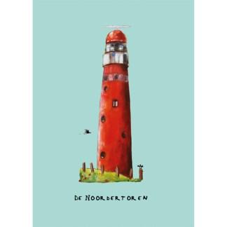 Poster vuurtoren Schiermonnikoog voor kinderkamers in een nautische stijl.