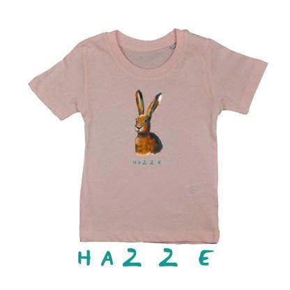Roze T-shirt met haas van biologisch katoen voor kinderen van 2,3,4,5 en 6 jaar