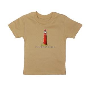 T-shirt met vuurtoren Schiermonnikoog . Lekker dun shirt van biologisch katoen. Voor kinderen van 1 tot 6 jaar van het merk Pjut