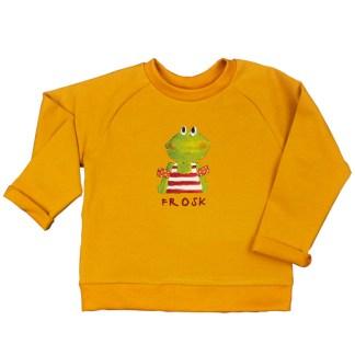 Oker sweater kikker, frosk in het fries. van biologisch katoen voor kinderen