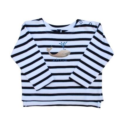 Streepshirt met de walvis van bio katoen voor baby's, peuters en kleuters. De illustratie is van Inge Adema, atelier Pjut