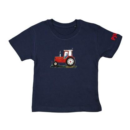 Blauw T-shirt met rode trekker voor kinderen van 2 tot 6 jaar. De illustratie is van Inge Adema. Het shirt is van biologisch katoen.
