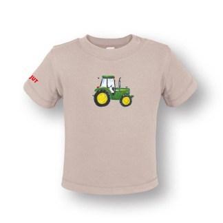 Baby T-shirt met John Deere. Naturel kleurig en van biologisch katoen. De afbeelding is gemaakt door Inge Adema van Atelier Pjut uit Leeuwarden