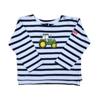 Streep shirt met John Deere illustratie van Inge Adema. Voor kinderen van nul tot zes jaar van atelier Pjut in Leeuwarden.