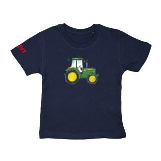 Blauw T-shirt met John Deere illustratie van Inge Adema. Voor kinderen van 18 maand tot 6 jaar.