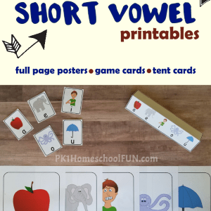 Short vowel song with free printables to help kids learn their short vowel sounds.