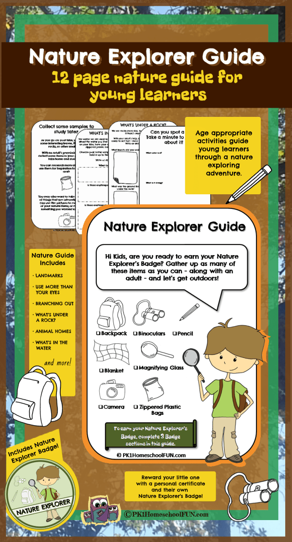 Nature Explorer Guide for preschool kindergarten and 1st grade students