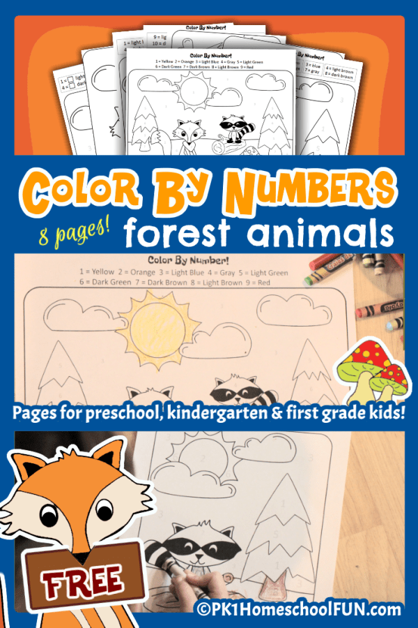 Color By Numbers Forest Animals Free Printable