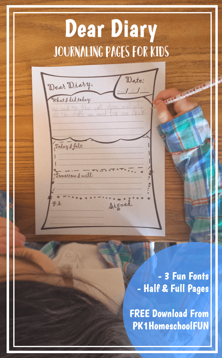 Inspire some writing fun for your children with these dear diary journaling pages for kids!