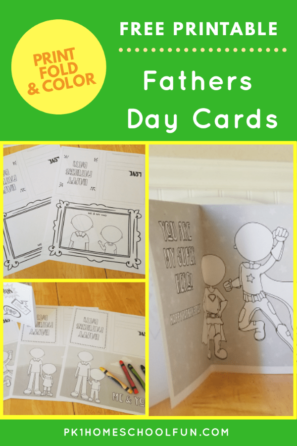 3 Designs to choose from for both boys and girls, here are free printable father's day cards for kids to print fold and color. Kids can draw their own faces and their dads faces for a fun and memorable keepsake card that's simple and fast to make!