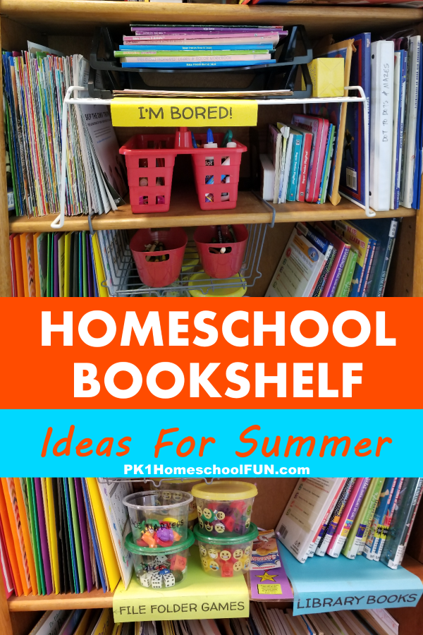 "Here are some homeschool bookshelf ideas for summer to prepare yourself for the inevitable ""I'm bored!"" summertime whines. Create an amazing bookshelf full of fun for those relaxing summer days with these great ideas for your summer  bookshelf."
