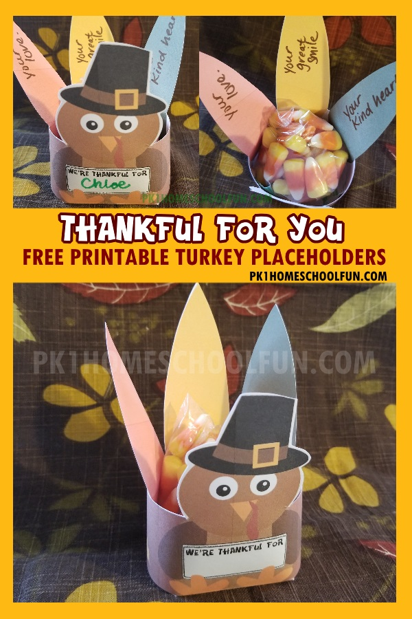 Free printable place holders and treat boxes for your Thanksgiving table.
