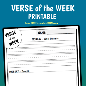 Looking for Bible Verse Printables? This free Bible verse of the week printable will help kids memorize Scriptures easily. Free from PK1HomeschoolFUN.com