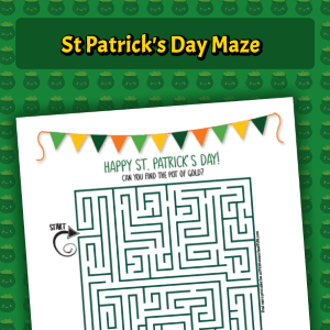 Free printable maze for your St. Patrick's Day printables