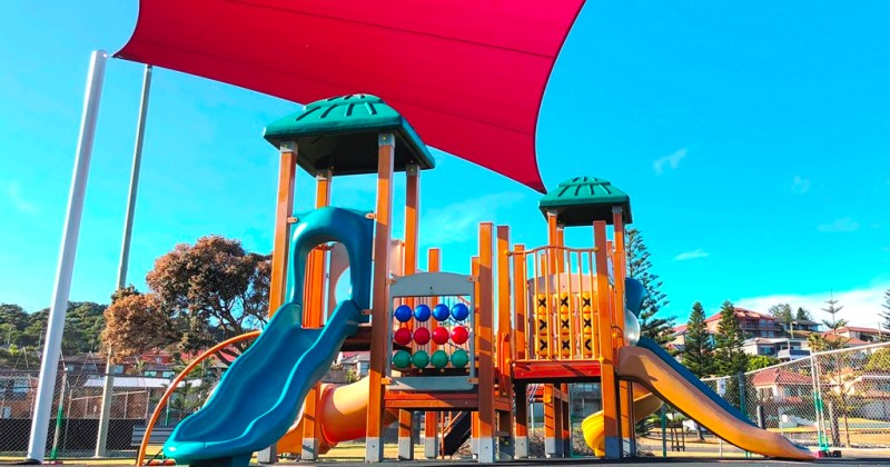 King George V Precinct shade sail over playground