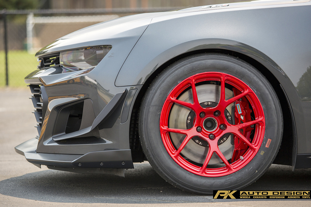 GREY CHEVROLET CAMARO SS 1LE BC FORGED RZ05 GLOSS RED CONCAVE TRACK WHEELS FRONT