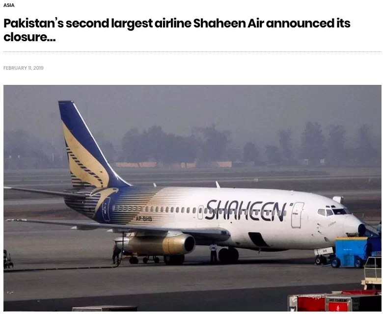 News In flight runs fake news story about closure of Shaheen Air International's closure. The airline denies any such rumours.