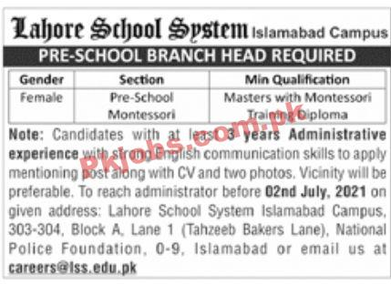 Jobs In Lahore School System Islamabad