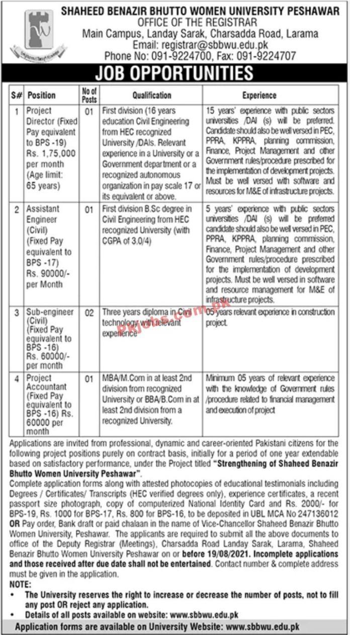 Jobs In Shaheed Benazir Bhutto Women University Peshawar