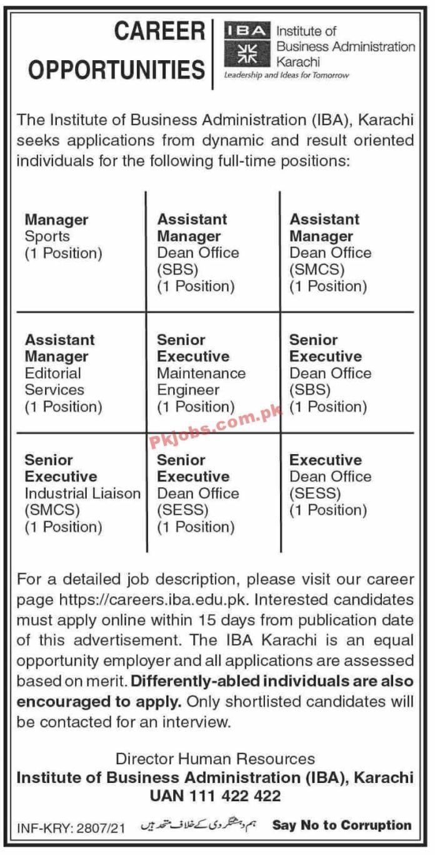 Jobs In Iba Karachi