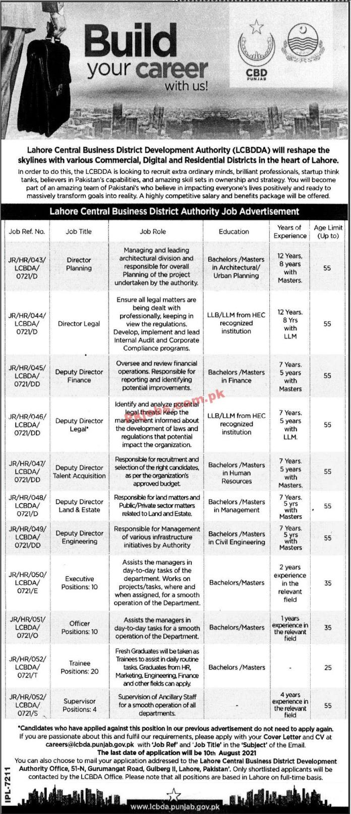 Jobs In Lahore Central Business District Development Authority Lcbdda Lahore