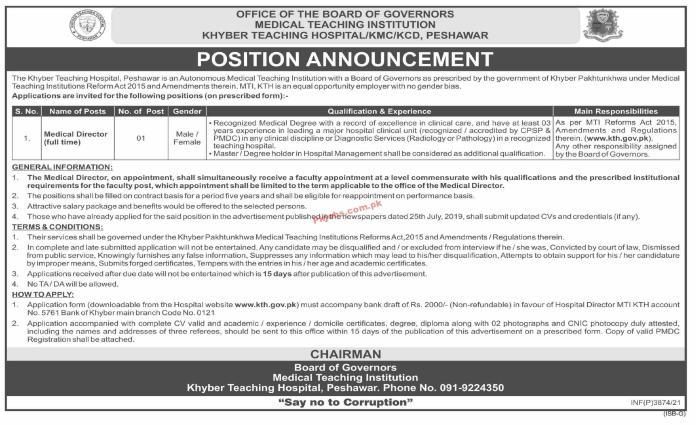 Jobs In Medical Teaching Institution Peshawar
