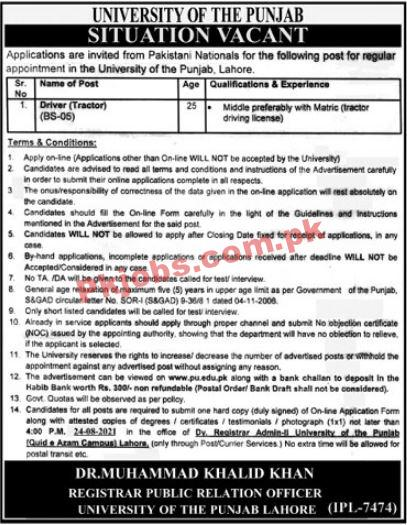 University Of The Punjab Announced Management Support Staff Pk Jobs