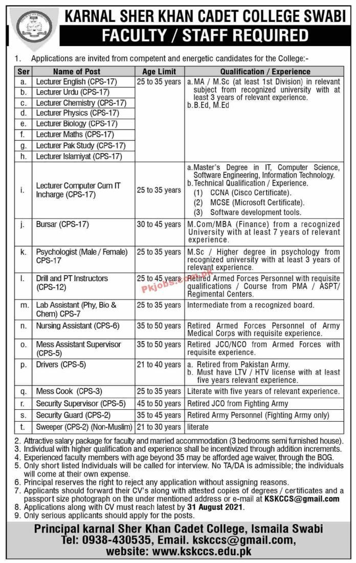 Jobs In Karnal Sher Khan Cadet College Swabi