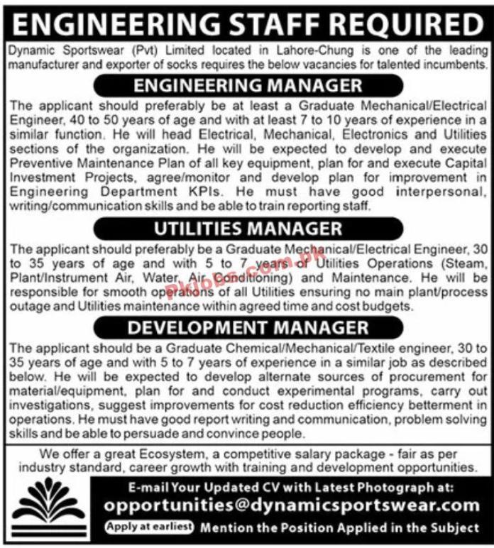 Jobs In Dynamic Sportswear Pvt Limited