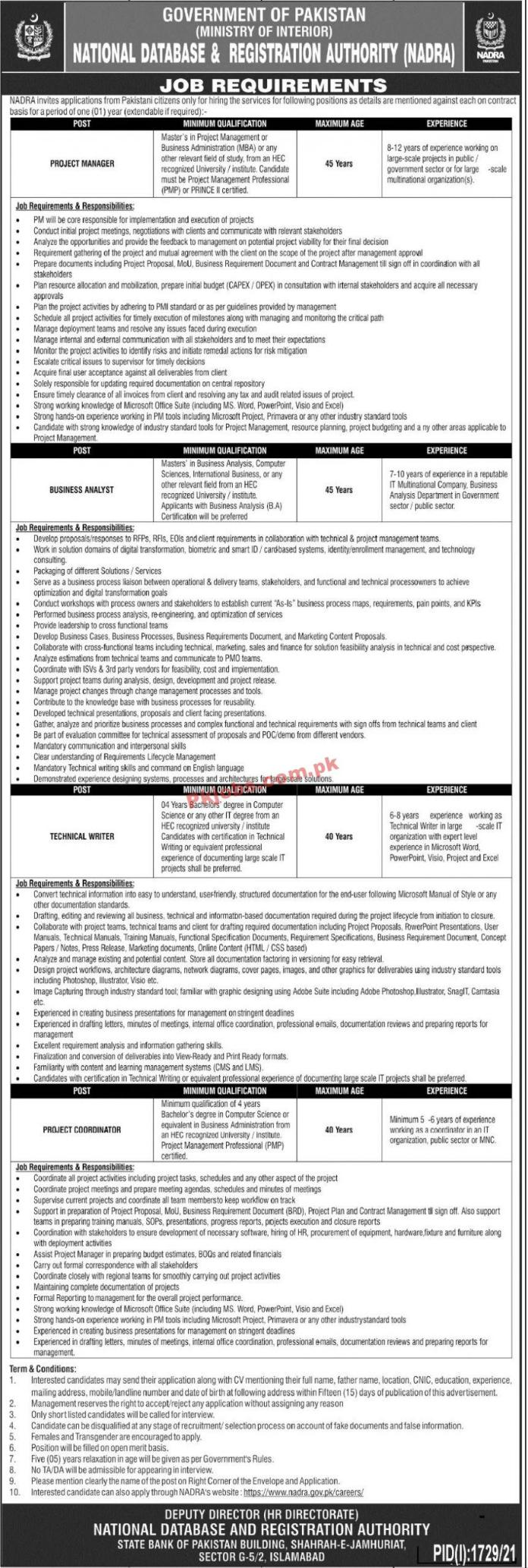 Jobs In Government Of Pakistan – National Database & Registration