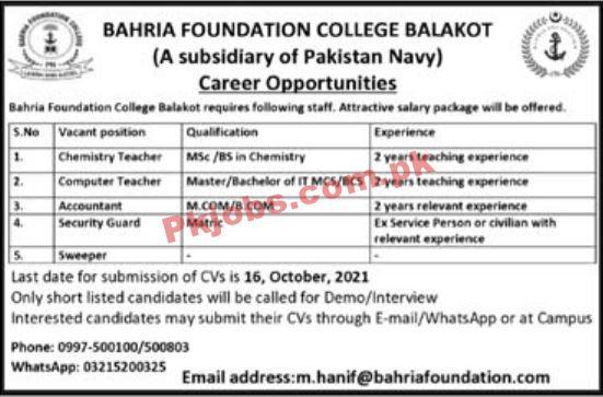 Bahria Foundation Pk Jobs 2021 | Pakistan Navy Bahria Foundation