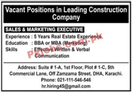 Jobs In Leading Construction Company