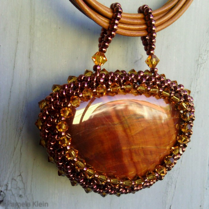 Red Tiger Eye Beaded Pendant