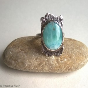 Larimar Wood-Grain Ring