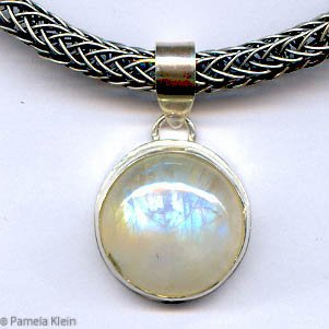 Moonstone Pendant on Viking Knit Chain