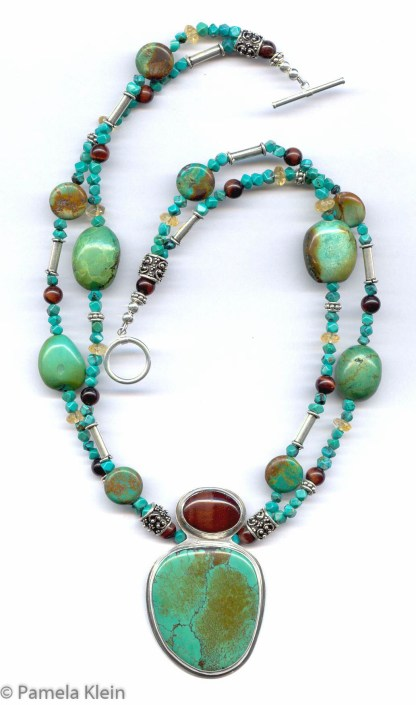 Turquoise Red Tiger Eye Necklace