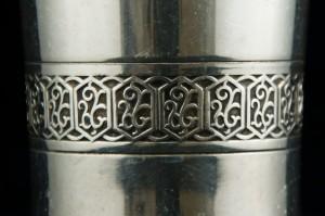Fraai bewerkte zilveren beker uit de St Donatuskerk te Leermens