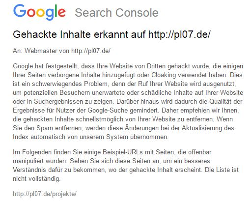 "Screenshot der Mail ""Gehackter Inhalt"" von Google Search Console"