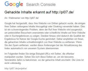 """Screenshot der Mail """"Gehackter Inhalt"""" von Google Search Console"""