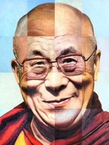 Portret Dalai Lama, in China geschilderd. Airco Caravan.
